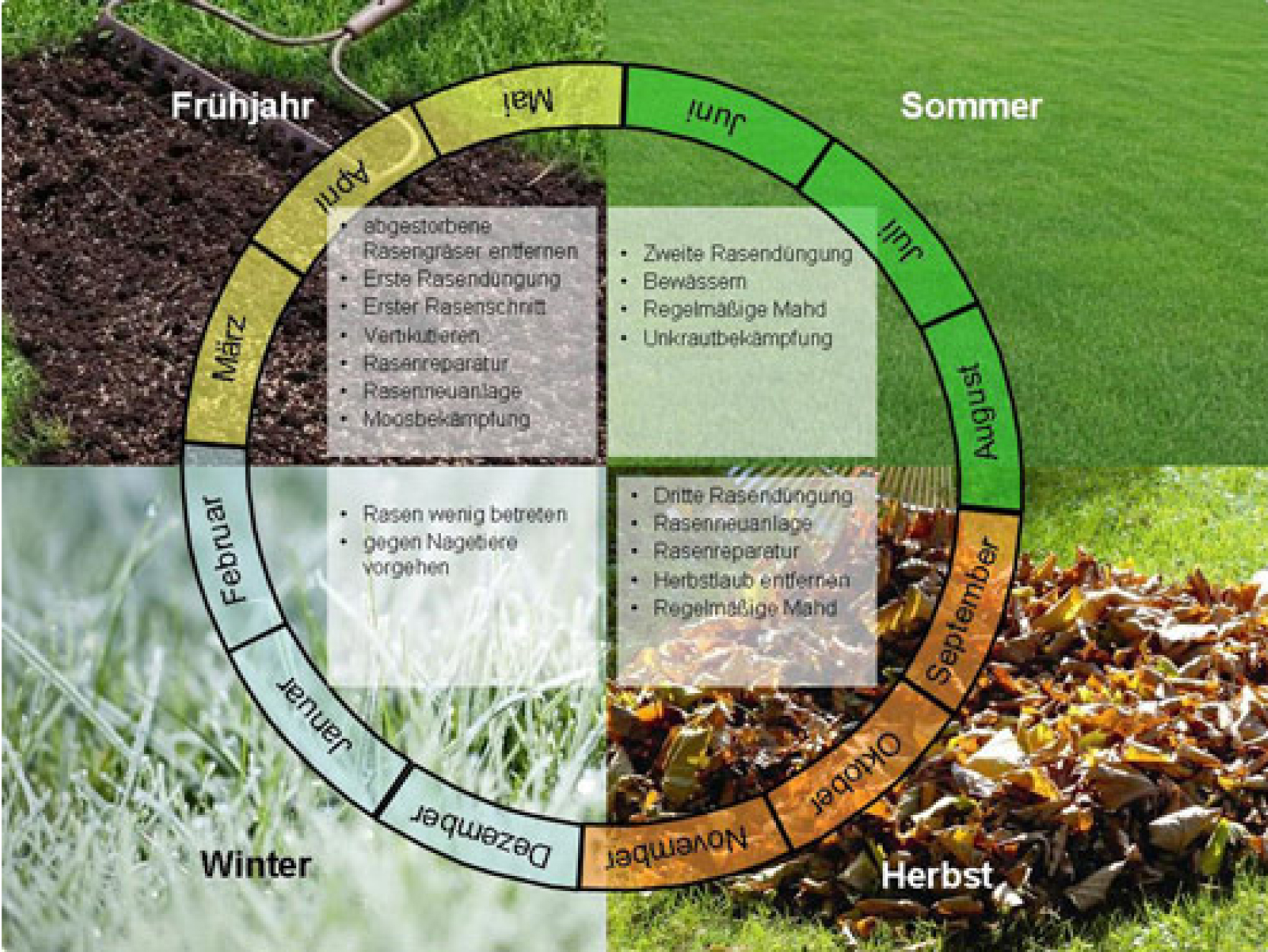 Rasenarbeiten im Jahresverlauf
